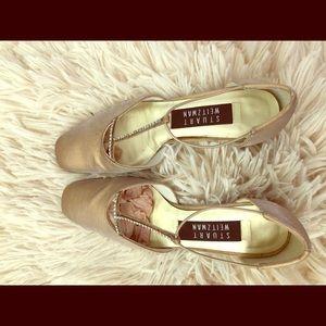 Stuart Weitzman gold sz 5 authentic leather shoes